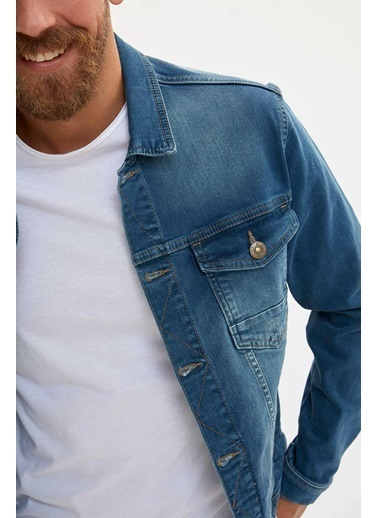 DeFacto Basic Jean Ceket Yeşil